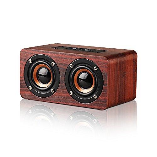 Bluetooth Lautsprecher Mobiler 10W Wireless Lautsprecher Bluetooth Holz Lautsprecher mit Stereo HIFI-Sound, verbesserte Bässe, Freisprecheinrichtung / FM-Radio / TF-Karte / AUX-Eingang (Red)