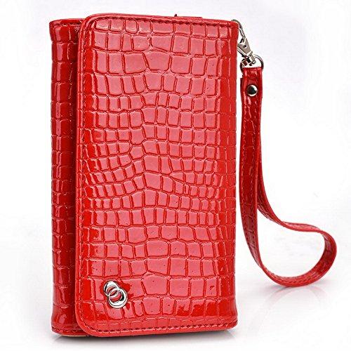 Kroo Croco Étui portefeuille universel pour smartphone avec bracelet pour BenQ F3/T3Mobile rouge - rouge rouge - rouge