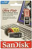 Sandisk Ultra Flair 32 GB, Chiavetta USB 3.0, Velocità di Lettura fino a 150 MB/s, Nero