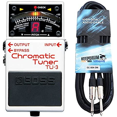 Boss TU-3 Chromatic Pedal Tuner with Keepdrum Jack Cable 1.5 m
