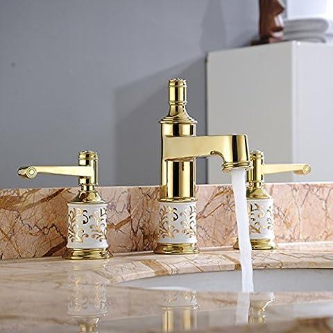 Saejj-Basin Taps Basin Faucet, All Copper Material Vertical Triple Type Bathroom Three Mixed Faucetbathroom Taps