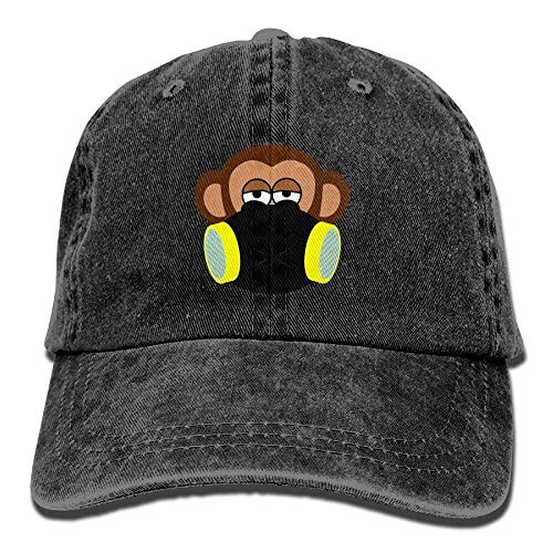 Hoswee Unisex Kappe/Baseballkappe, Monkey with Gas Mask Denim Hat Adjustable Women Curved Baseball Caps -