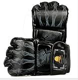 Boxhandschuhe Boxen MMA Handschuhe Boxsack Taekwondo Sparring Kampfsport Freefight Training Herren Damen Kinder (Schwarz B)