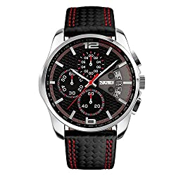 LYMFHCH Mens Watches Chronograph Black Leather Quartz Sports Casual Wrist watch (Leather Band)