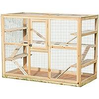 Melko® Kleintierkäfig aus Holz, 120 x 60 x 90 cm, inklusive 6 Rampen,Nagervilla Hamsterkäfig Mäusekäfig