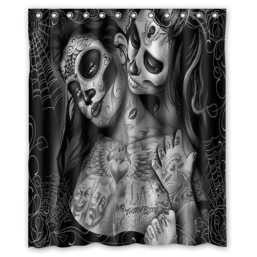 CHATAE Custom Print Design Schwarz und Weiß Art Sugar Skull Flower Vorhang für die Dusche Dekoration Mehltau wasserdicht Polyester Duschvorhang aus Stoff, 152,4x 182,9cm Zoll (Schwarz Stoff Dusche Vorhang Liner)
