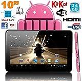 Tablette tactile 10 pouces Android 4.4 KitKat Quad Core 24 Go Rose