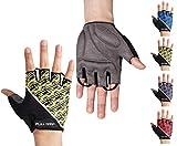 FULL GRIP Halbfinger Fahrradhandschuhe für Männer & Frauen mit stoßdämpfender, Rutschfester und widerstandsfähiger Handinnenfläche für den Radsport inkl. gratis Trainings E-Book (Gelb, M)