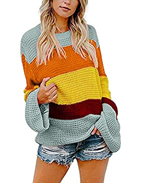 LILICAT® Mujer Suéter de Manga Larga Suelta de Punto Casual,Womens Striple Sweater Casual Knitted Loose Long Sleeve...