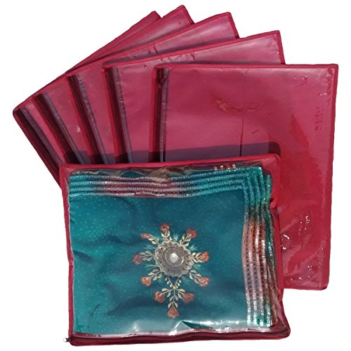 Kuber Industries Non Wooven Single Saree Cover 6 Pcs Set Maroon  available at amazon for Rs.169