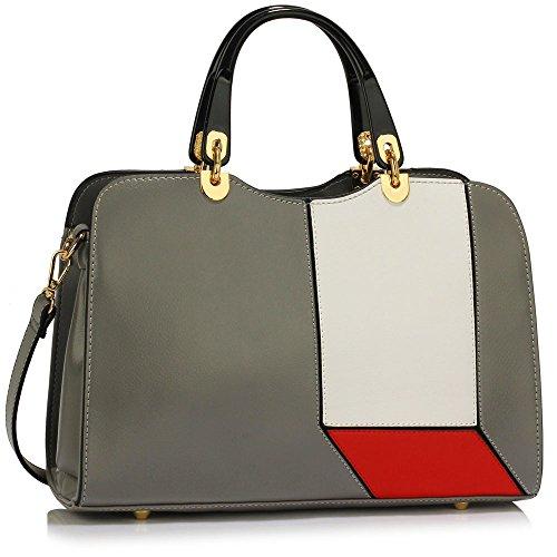 Trendstar Damen Schulter Handtaschen Damen imitat Leder Neu Fashioned Schnalle Für Leinentrage Taschen A - Grau/Weiß/Rot