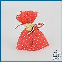 6 Sacchetti PORTACONFETTI BOMBONIERE Laurea Rosso A Pois con Confetti  CRISPO Inclusi E Tocco in Legno 87eee4231060