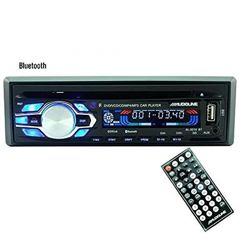 Auto Stereo Audio - Kingwo Car MP3 Radio Bluetooth Auto Auto Stereo Audio FM Aux Eingang Empfänger SD USB MP3 Radio Mit 1X Auto Stereo Player, 1X Draht, 1X Anleitung, 1X Fernbedienung (Batterie nicht (Din-radio-install Kit)
