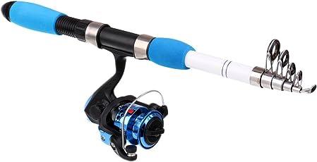 Segolike 1.6M Fishing Rod And Reel Combos Carbon Fiber Telescopic Fishing Rod With Reel Combo Kit Blue