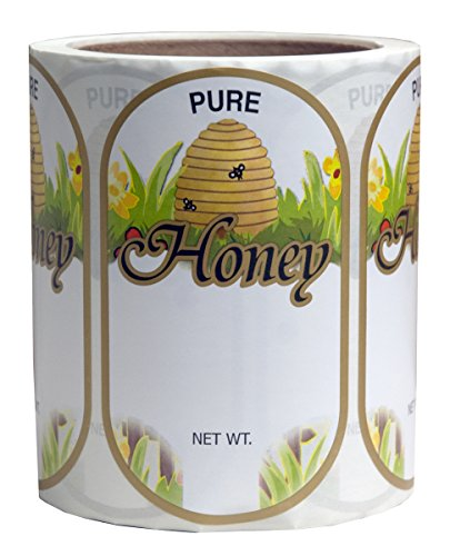 Mann Lake 250 Count Golden Honeybee Skep Oval Label, Large 1