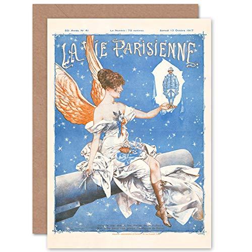 Artery8 La Vie Parisienne Stars Sky Uniform Angel Magazine Cover Sealed Greeting Card Plus Envelope Blank Inside Sterne Cover der Zeitschrift Startseite