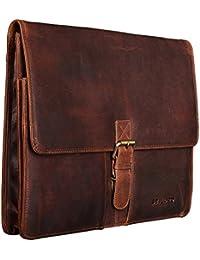 STILORD 'Magnus' Portafolio para conferencias Maletín Business DIN A4 Grande con cremallera Vintage Design de Piel