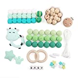 baby tete Baby Zahnen Spielzeug Achteckige Silikon Perlen Schnuller Clips Beißring Kit Beissring Grüne Serie