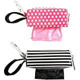 Oh Baby Bags Diaper Bag Clip-On Dispensers With Disposable Bags For Dirty Diapers And Other Messes -Set Of 2 - Pink Dots And Black And White Stripe