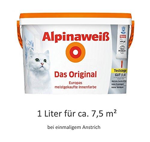 Alpinaweiß - Das Original, 1 Liter, weiße Wandfarbe, höchste Deckkraft, deckt beim ersten Anstrich