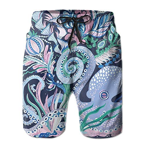 Octopus Men's Printing Quick Dry Beach Board Shorts Swim Trunks XL -