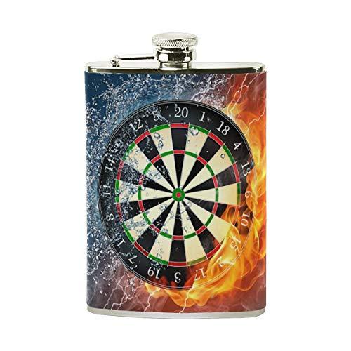 Trinkflasche mit Dartscheibe, mit PU-Leder umwickelt, auslaufsicherer Edelstahl-Spirituosen-Flachmann, 8 oz
