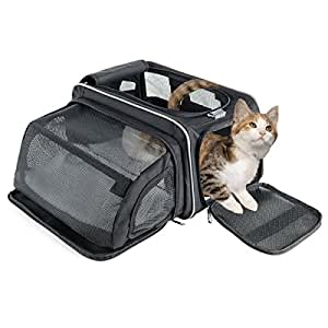 Fypo Fabric Pet Cat Carrier Crate - Sturdy Foldable Expandable Kitten Carrier Bag with Fleece Mat and Extra Pocket - Comfortable Shoulder Handbag Cats Carry Case Pet Carrier for Rabbit Guinea Pig Small Animal in Sleeping & Travel 40*23*23 cm