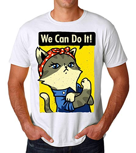 PasTomka We Can Do It Purrsist Cat Men's T-Shirt Hombre Camiseta XX-Large