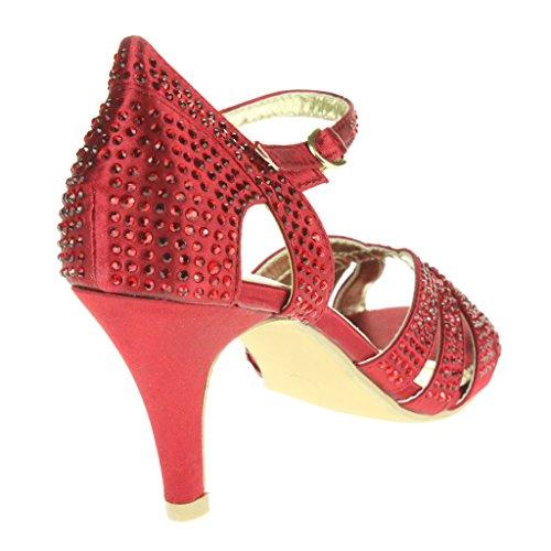 Frau Damen Fesselriemen High Heel Abendliche Feier Braut Hochzeit Prom Sandals Schuhe Größe Rot
