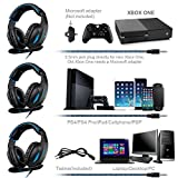 Xbox one Controller PS4 PC Gaming Headsets , Sades SA816 Over-ear Gaming Headphone 3.5mm Noise Cancelling Microphone In-line Volume Control Led Light for Laptop Mac Nintendo Switch Computer Games