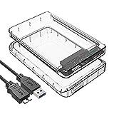 "USB 3.1 Externes Festplatten Gehäuse für 2,5 Zoll Festplatte - ElecGear 2.5"" Festplattengehäuse SATA HDD und SSD Transparent Adapter Caddy Hard Drive Case, UASP, Tool-free, Typ A Kable, TPU Hülle"