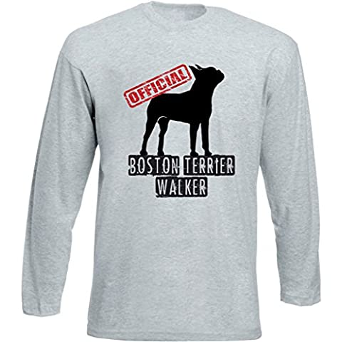 Teesquare1st BOSTON TERRIER OFFICIAL WALKER Tshirt da Uomo a maniche lunghe grigie