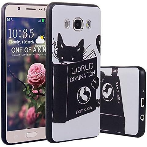 Funda para Samsung Galaxy J510,ZXK Funda del Gel Silicona TPU para Samsung Galaxy J5 (2016) J510 Diseño Pintado Carcasa Cover Tapa Trasera Suave Delgada Case-Gato