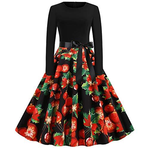 BASACA Weihnachtskleider Damen Vintage Kleid Cocktailkleider Abendkleid Langarm Elegant Rundhals Festliche Neuheit Frohe Weihnachten Partykleid Minikleid Kleider (A-Rot, S)