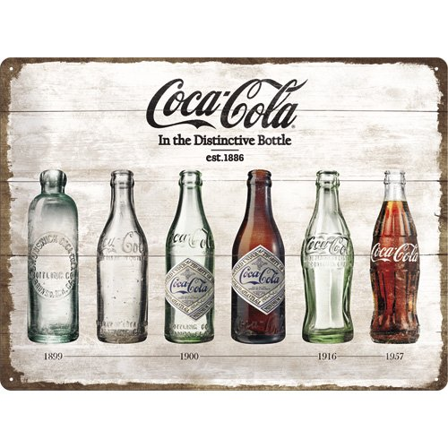 Nostalgic Art Coca Cola Bottle Timeline - Placa decorativa, metal, 30 x 40 cm, color ocres