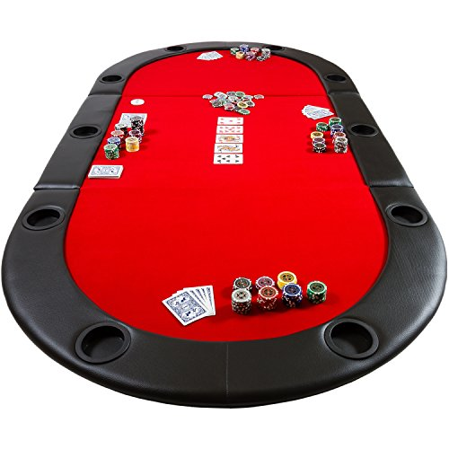 Maxstore Deluxe Faltbare Pokerauflage mit Tasche, 208x106x3 cm, MDF Platte, Gepolsterte Armauflage, 10 Getränkehalter - 4