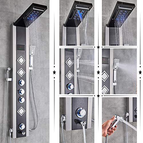 NTTBDY Blau GebüRstet Bad Dusche Wasserhahn Led Duschpaneel Spalte Badewanne Mischbatterie Mit Handbrause Temperatur Bildschirm