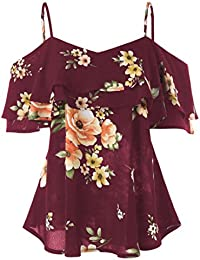 Solike Débardeurs Femmes Ete Imprimé Sling T-Shirt Ouvert Épaules Casual  Imprimé Tops Fille Gilet 32ba2be20825