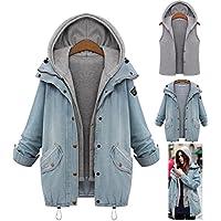 abrigos de mujer invierno talla grande Sannysis vaqueros rotos mujer chaquetas con c apucha 2pcs cardigans + chalecos mujer invierno baratos (azul, 4XL)