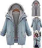 abrigos de mujer invierno talla grande Sannysis vaqueros rotos mujer chaquetas con c apucha 2pcs cardigans + chalecos mujer invierno baratos (azul, L)