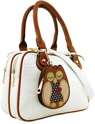 KukuBird Owl Coin Pouch detail Pattern Faux Leather Designer Boutique Totes Handbag Pearl White