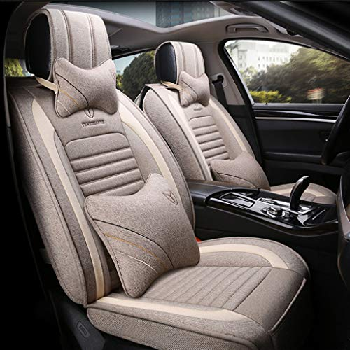Yunchu Flachs-Autositzbezug Atmungsaktives Komfort-Autositzkissen - Vorder- und Hinterreihe, 5 Sitzplätze, kompletter Satz Auto sitzbezüge (Color : Khaki, Size : Deluxe) - Toyota Matrix Auto Sitzbezüge