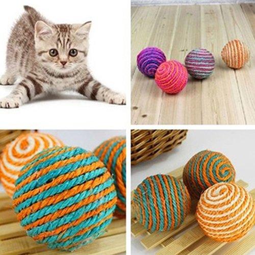 SEGRJ Katzenspielzeug mit Sisalseil, zum Kauen, Rasseln, Kratzspielzeug