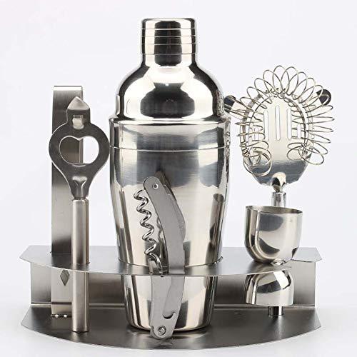 Jiali Cocktail-Shaker-Set, Edelstahl, 7-teilig, für Cocktail-Liebhaber, Einweihung, Feiertage und alles was Sie brauchen, um zu unterhalten. 350 ml