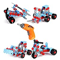 ONEGenug Building Blocks Set Take Apart Educational Construction Engineering w Electric Drill Toy Workbench Toy Tool Set