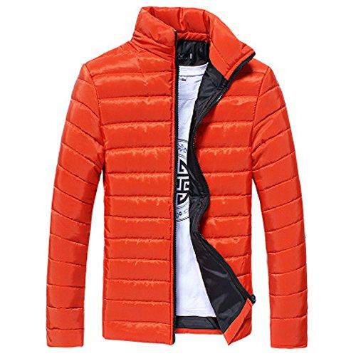 Skxinn Classics Daunenjacke für Herren, Männer Leichte Daunenjacke Winterjacke Ultraleichte Isolierte Winter Oberbekleidung Outwear Jacket(Orange,Large)