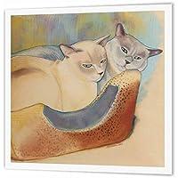 3dRose Dos tonquines de Pintura Pastel para Mascotas Retrato Gato Cama Hierro sobre Transferencia de Calor