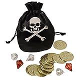 Karnevalsbud - Piratenbeutel mit Münzen , Mehrfarbig