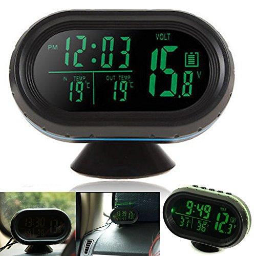 Auto Uhr Thermometer Voltmeter Multifunktion, KFZ Spannungs Anzeige, Temperatur Messgerät, Zigarettenanzünder Batterie Tester, LED Digital Leuchtende Uhr, Hintergrundbeleuchtung Mit Knopf Batterie 12V (grün)
