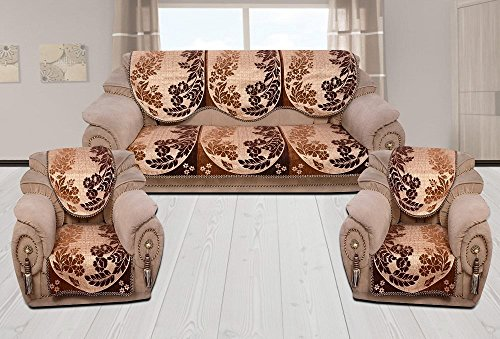 INDIA ONLINE Sofa Cover Heavy Cotton Cloth 5 Seater Set -6 Pieces- Coffe & Golden (Flower & Leaf Design)